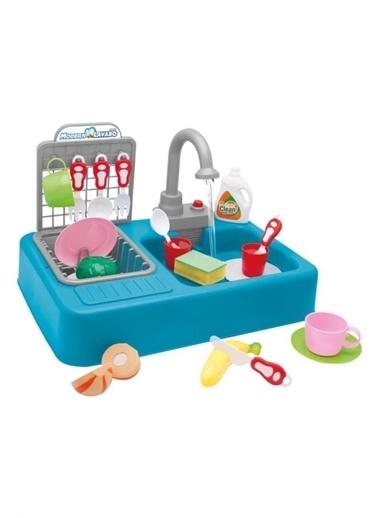 Kayyum Oyuncak Kayyum Oyuncak Modern Mutfak Lavabo Pilli Sulu Çeşmeli Oyuncak Set Mavi